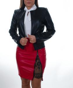Fekete hosszú ujjú műbőr női zakó