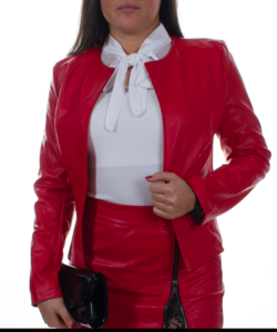 Piros hosszú ujjú műbőr női zakó