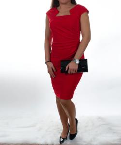 Piros csillogós női alkalmi ruha