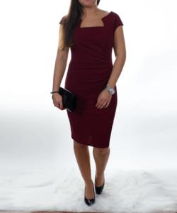 Bordó csillogós női alkalmi ruha