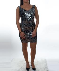 Fekete-ezüst flitteres női party ruha