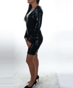 Fekete hosszú ujjú,flitteres női party ruha