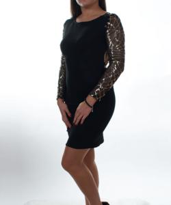 Fekete arany flitteres női party ruha