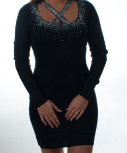 Fekete keresztpántos lurexszálas,strasszos,kötött női mini ruha