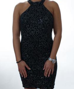 Fekete flitteres virágos női party ruha