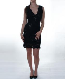 Fekete flitteres tüll női party ruha