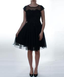 Fekete barokk díszes tüll női alkalmi ruha