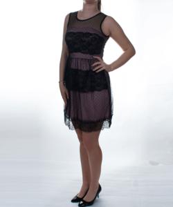 Fekete-púder pöttyös tüll női alkalmi ruha