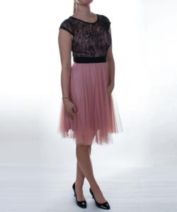 Púder-fekete tüll női alkalmi ruha