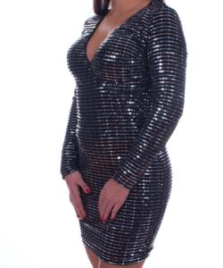 Ezüst flitteres átlapolt női party ruha