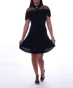Fekete fodros vállú női ruha