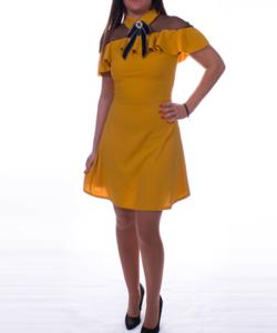 Mustár fodros vállú női ruha