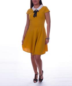 A vonalú mustár női ruha