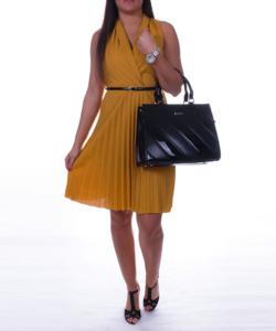 Átlapolt mustár női ruha