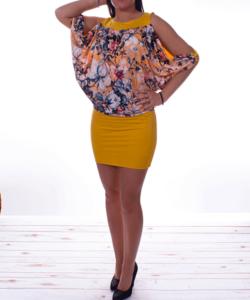 Sárga virág mintás női tunika