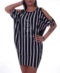 Fekete-fehér csíkos feliratos női tunika