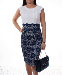 Extyn fehér kék csipkés alkalmi női ruha
