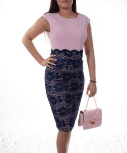 Extyn rózsaszín kék csipkés alkalmi női ruha