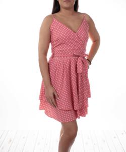 Rózsaszín pöttyös nyári női ruha
