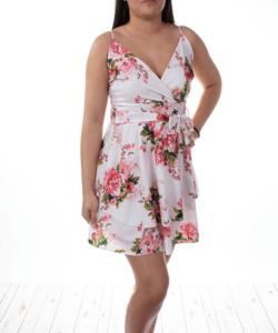 Fehér virágmintás nyári női ruha