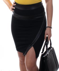 Extyn fekete női műbőrbetétes miniszoknya