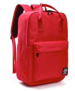 Piros vászon hátizsák, kézipoggyász