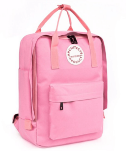 Rózsaszínű vászon hátizsák, kézipoggyász