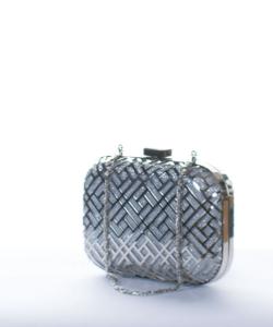 Ezüst láncos alkalmi női clutch táska