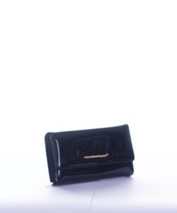 Fekete lakk díszdobozos női pénztárca