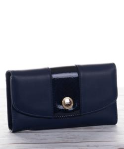 Kék lakk mintás női pénztárca