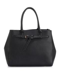 Anna Grace fekete női divatos táska dísz pánttal