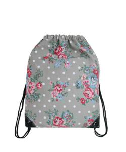 Miss Lulu szürke virágos tornazsák, hátizsák