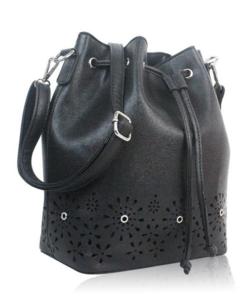 Virágmintás fekete női táska