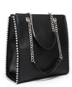 Ezüst gyöngyös fekete női táska