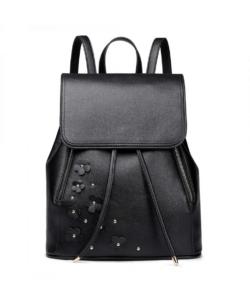 Miss Lulu fekete női hátizsák virágos dísszel