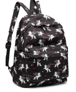 Miss Lulu unikornisos hátizsák fekete