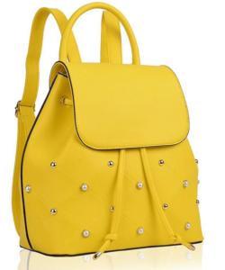 Sárga gyöngyös női divatos hátizsák