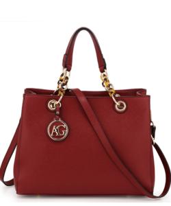 Anna Grace bordó női divatos táska lánc pánttal