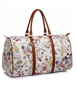 Anna Grace fehér virágos női utazótáska