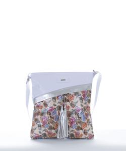 Via.55 virágmintás-fehér női oldaltáska