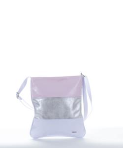 Via.55 v.rózsaszín-ezüst-fehér női oldaltáska