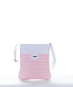 Via.55 fehér-v.rózsaszín női oldaltáska