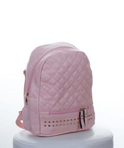 Világos rózsaszín steppelt-szegecses női hátizsák