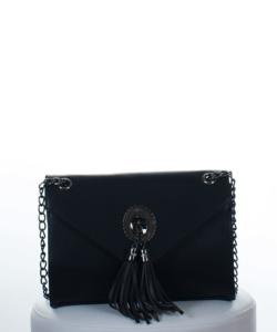 Fekete díszcsatos divatos női táska lánc pánttal