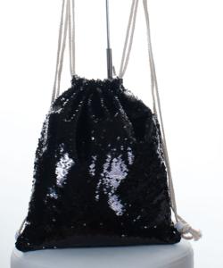 Fekete flitteres tornazsák, hátizsák 44 cm