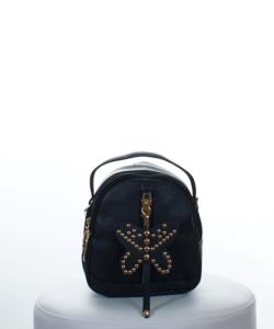 Fekete mini női hátizsák szegecses pillangó kulcstartóval