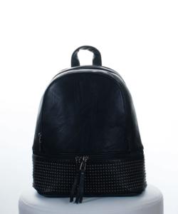 Fekete díszköves női hátizsák