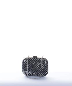 Ezüst-fekete láncos alkalmi női clutch táska