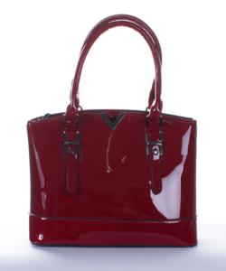 Bordópiros fém díszes női lakk táska