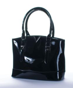 Fekete  fém díszes női lakk táska